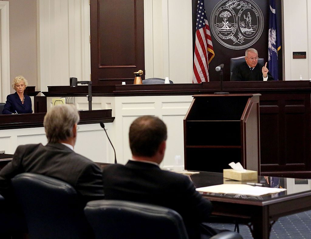 CHARLESTON, SC - JULY 16: Circuit Court Judge J.C. Nicholson presides over a hearing involving Dylan Roof, the suspect in the mass shooting that left nine dead in Charleston church last month, July 18, 2015 in Charleston, South Carolina. (Photo by Grace Beahm-Pool/Getty Images)